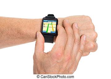mapa, actuación, smartwatch, mano, humano, gps
