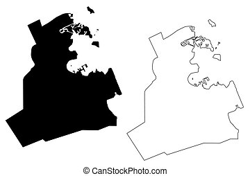 mapa, ad-dawhah, qatar, ciudad, dauha, vector, municipality...