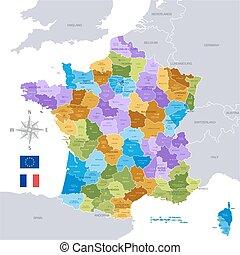 mapa, administracyjny, francja