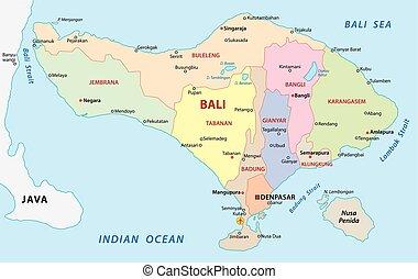 mapa, administrativo, bali
