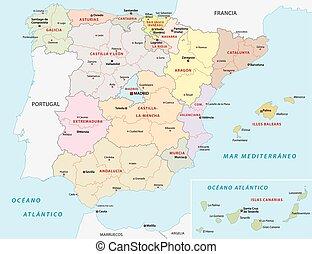 mapa, administrativo, espanha