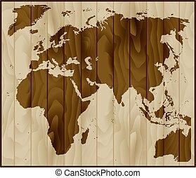 mapa, afryka, azja, drewno, tło, europa