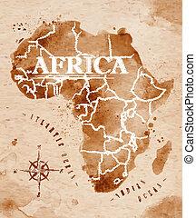 mapa, afryka, retro