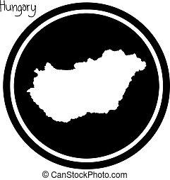 mapa, aislado, ilustración, vector, fondo negro, hungría, ...