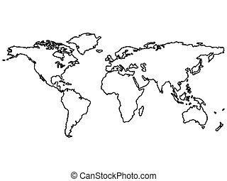 mapa, aislado, negro, mundo, blanco, contornos