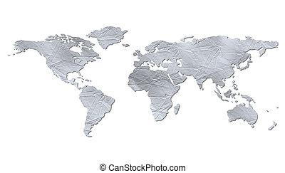 mapa, -, aislado, papel, arrugado, mundo
