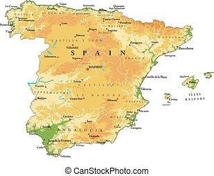 mapa, alívio, espanha