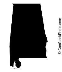 mapa, alabama, estados unidos de américa