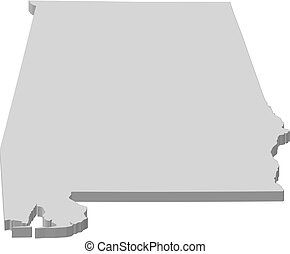 mapa, -, alabama, (united, states), -, 3d-illustration