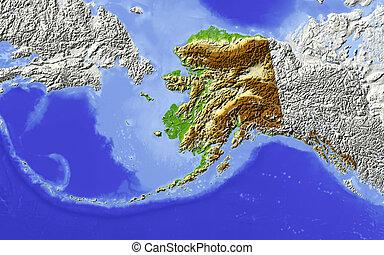 mapa, alaska, protegidode la luz, alivio