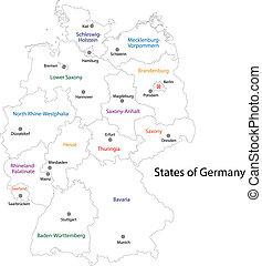 mapa, alemania, contorno