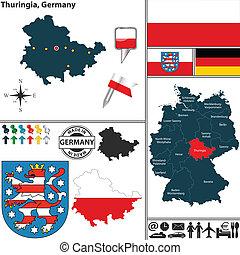 mapa, alemania,  thuringia