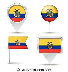 mapa, alfileres, con, bandera, de, ecuador