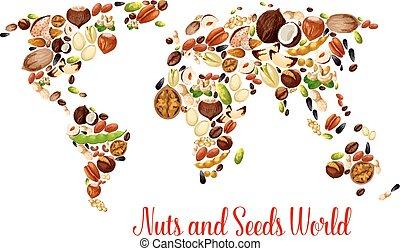 mapa, alimento, frijol, nueces, Semilla, diseño, mundo
