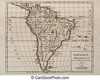 mapa, américa, antigas, original, sul