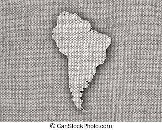 mapa, américa, antigas, sul, linho