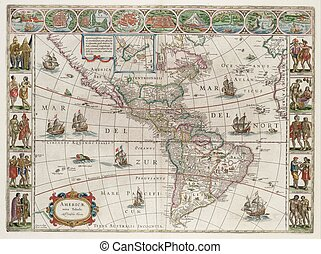 mapa, américa