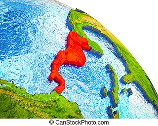 mapa, américa, central, 3d, terra