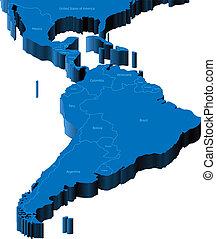 mapa, américa, latín, 3d