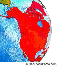 mapa, américa, norte, 3d, terra