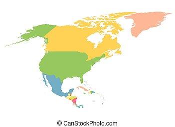 mapa, américa, norte, colorido