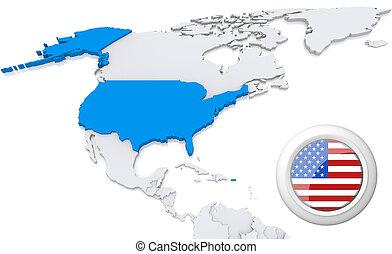 mapa, américa, norte, eua