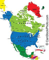 mapa, américa, norte, político