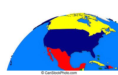 mapa, américa, norte, terra, político
