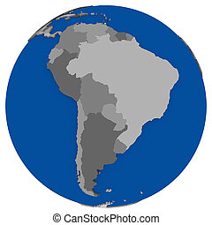 mapa, américa, político, sul, terra