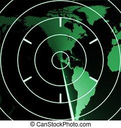 mapa, américa, radar