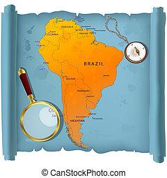 mapa, américa, rolo, sul