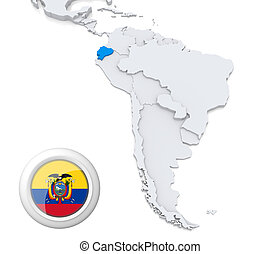 mapa, américa, sul, equador