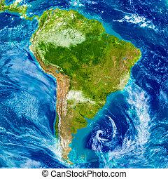 mapa, américa, sul, físico