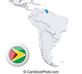 mapa, américa, sul, guiana