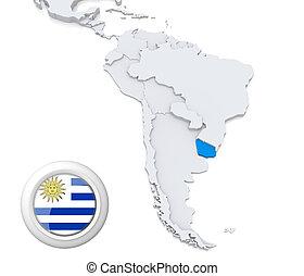mapa, américa, sul, uruguai