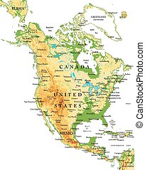 mapa, america-physical, norte