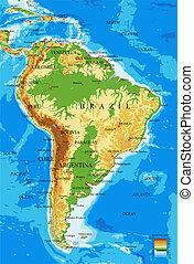 mapa, america-physical, południe