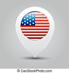 mapa, americano, ponteiro, bandeira