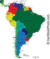 mapa, ameryka, polityczny, południe
