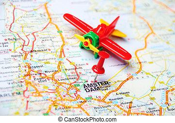 mapa, amsterdam, avión, holanda