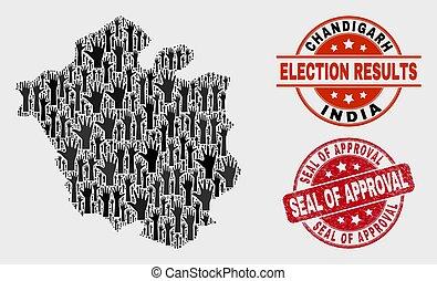 mapa, angústia, chandigarh, colagem, selo, selo, aprovação, votando, cidade