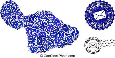 mapa, angústia, colagem, ilha, selos, tráfego, maui, poste, mosaico