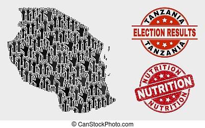 mapa, angústia, nutrição, colagem, tanzânia, selo, selo, votando