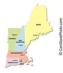 mapa, anglia, nowy, stany