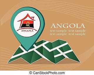 mapa, angola, 10, eps, ilustração, bandeira, vetorial, ponteiro