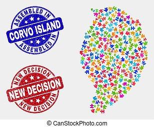 mapa, angustia, corvo, isla, decisión, módulo, filigranas, nuevo, armados