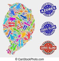 mapa, angustia, corvo, isla, hechaa mano, mano, sellos, composición