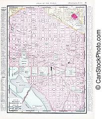 mapa antigüidade, dc, eua, cor, rua, washington