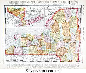 mapa antigüidade, eua, cor, vindima, estado, york, novo