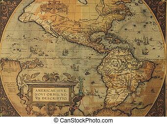 mapa, antiga, américa